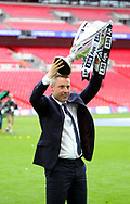 Millwall manager lifts the league one trophy after the Sky Bet League 1 play-off final at Wembley Stadium, London<br /> Picture by Glenn Sparkes/Focus Images Ltd 07939664067<br /> 20/05/2017