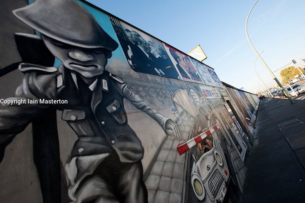 newly repainted murals on Berlin Wall at the East Side Gallery in Kreuzberg Berlin