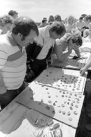 Badge sales, raising money for sacked miners at the 99th Yorkshire Miners Gala. 1986 Doncaster.