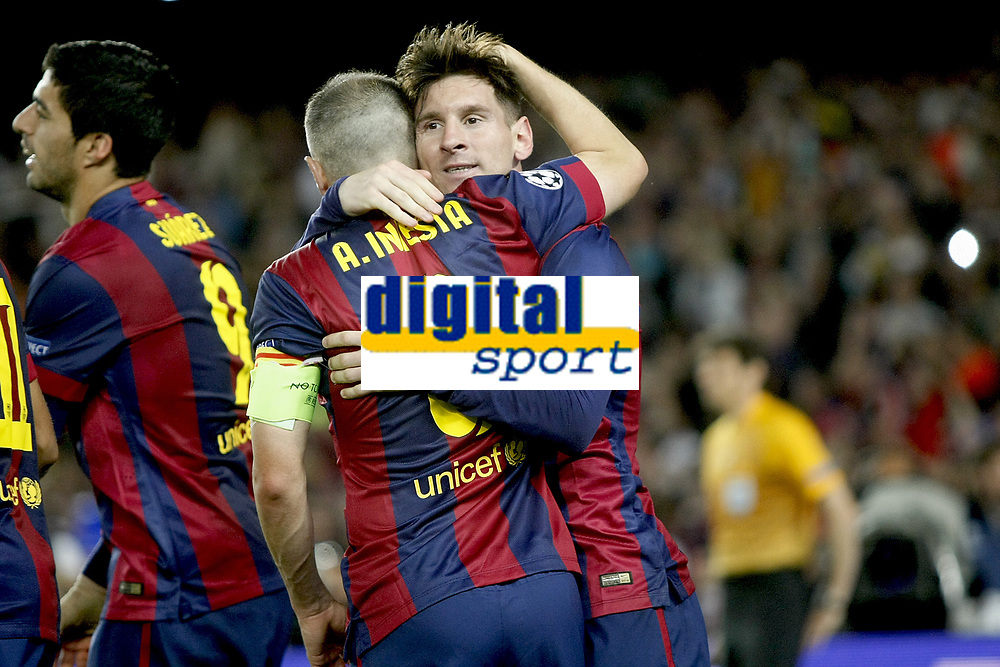 Leo Messi and Andres Iniesta celebrating Messi first goal during the Champions League Semi-final 2014/2015 football match between FC Barcelona and Bayern Munchen on May 06, 2014 at Camp Nou stadium in Barcelona, Spain. Photo Bagu Blanco / DPPI