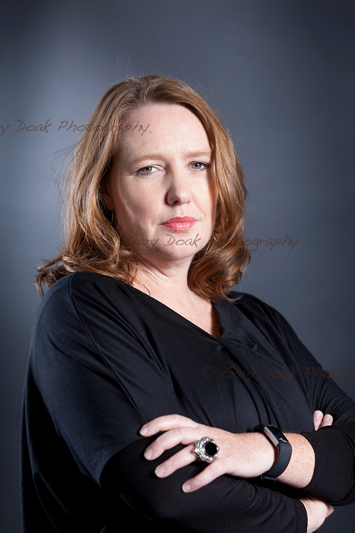 Paula Hawkins, the Zimbabwe-born British author, best known for her best-selling psychological thriller novel The Girl on the Train, appearing at the Edinburgh International Book Festival. Edinburgh, Scotland.<br /> 12th August 2017<br /> Picture by Gary Doak