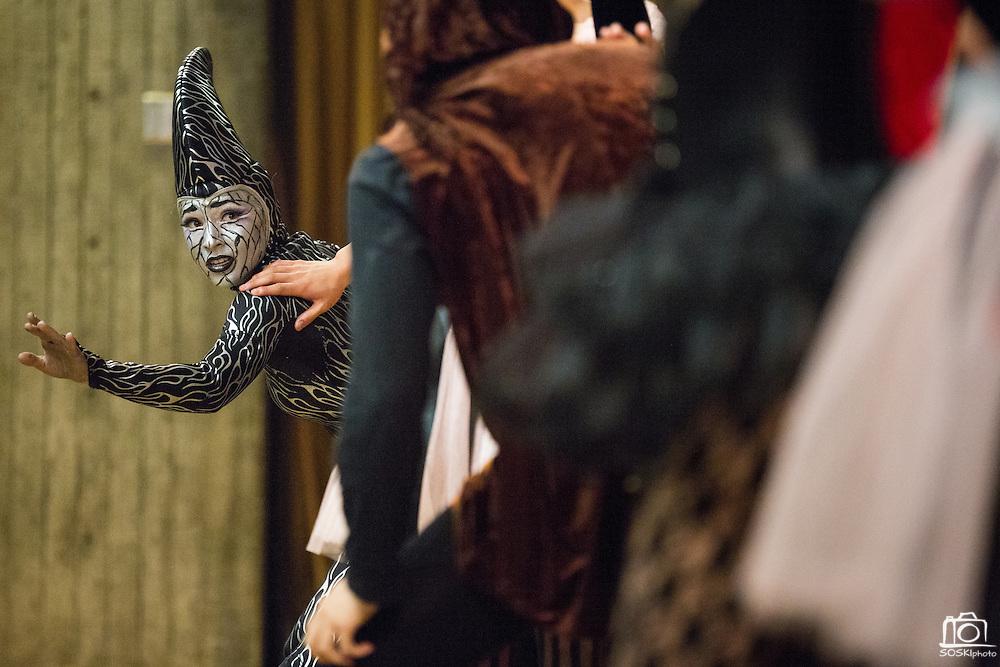 Dance Program Company One performs CSI-CVU: Crime Scene Investigation Circus Victims Unitduring Humanities & Arts Day Student Showcase at San Jose State University's Student Union Barrett Ballroom in San Jose, California, on October 25, 2013. (Stan Olszewski/SOSKIphoto)