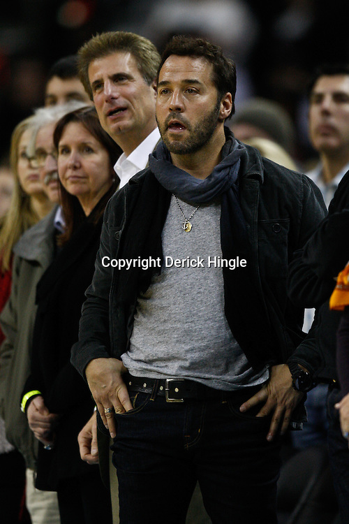 January 12, 2011; New Orleans, LA, USA; Hollywood actor Jeremy Piven watches during the fourth quarter of a game between the New Orleans Hornets and the Orlando Magic at the New Orleans Arena. The Hornets defeated the Magic 92-89.  Mandatory Credit: Derick E. Hingle