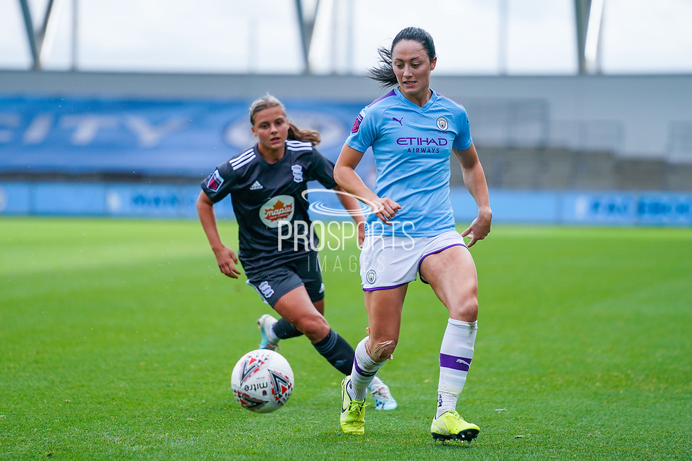 Manchester City Women defender Megan Campbell (5) during the FA Women's Super League match between Manchester City Women and BIrmingham City Women at the Sport City Academy Stadium, Manchester, United Kingdom on 12 October 2019.