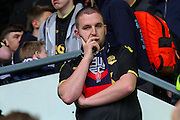 Bolton fan following their relegation after the Sky Bet Championship match between Derby County and Bolton Wanderers at the iPro Stadium, Derby, England on 9 April 2016. Photo by Aaron  Lupton.