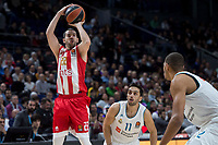 Real Madrid Facundo Campazzo and Walter Tavares and Crvena Zvezda Taylor Rochestie during Turkish Airlines Euroleague match between Real Madrid and Crvena Zvezda at Wizink Center in Madrid, Spain. December 01, 2017. (ALTERPHOTOS/Borja B.Hojas)