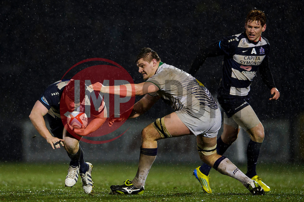 Bristol Prop (#1) Kyle Traynor is tackled during the second half of the match - Photo mandatory by-line: Rogan Thomson/JMP - Tel: Mobile: 07966 386802 25/01/2013 - SPORT - RUGBY - Memorial Stadium - Bristol. Bristol v Leeds Carnegie - RFU Championship.