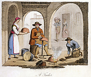 Itinerant Tinker and his boy assistant: Woman brings utensil for repair. Leather tool bag doubles as bellows creating draught for little forge. Piemonte (Piedmont) district, Northwest Italy. From Airetti 'Italian Costume, Scenery and Customs' London 1825