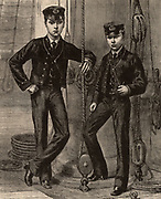 Prince Albert Victor, Duke of Clarence (1864-1892) and his younger brother Prince George of Wales (1865-1936) as George V king of Great Britain from 1910,  during their time as naval cadets or Midshipmen (1877-1882) on board the training ship 'Britannia'. Wood engraving.