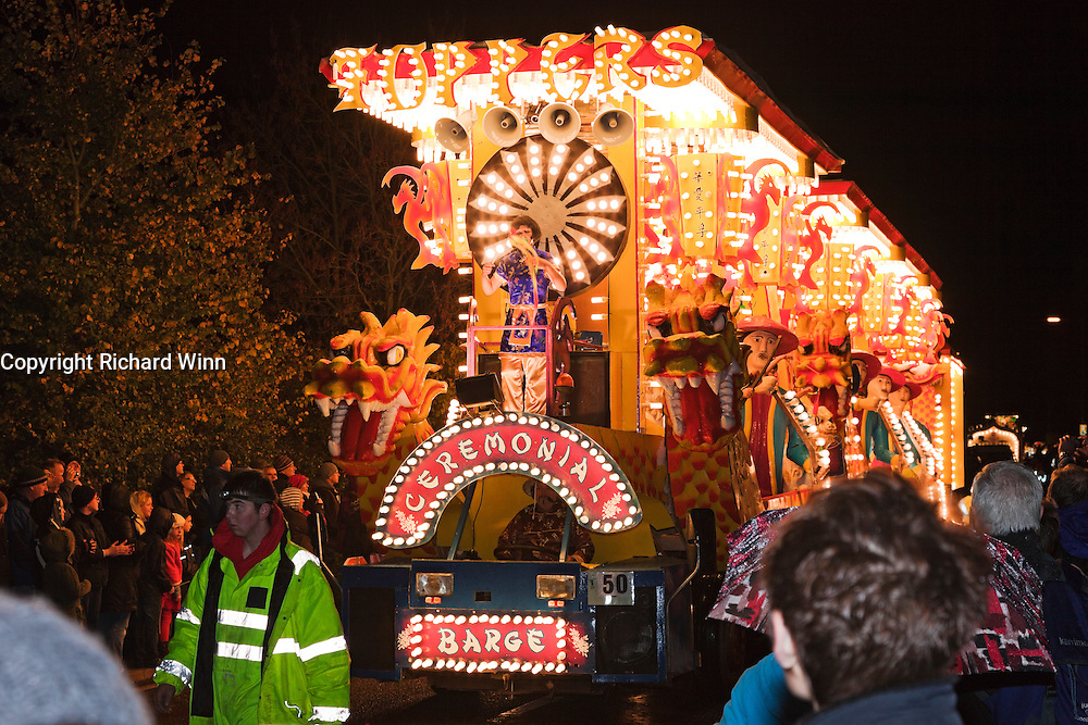 Ceremonial Barge by Toppers JCC at North Petherton Guy Fawkes Carnival 2010.