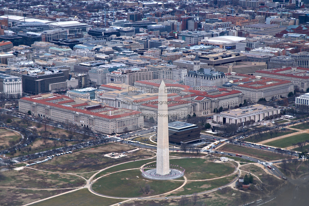 Aerial view of the Washington Monument in Washington, DC.