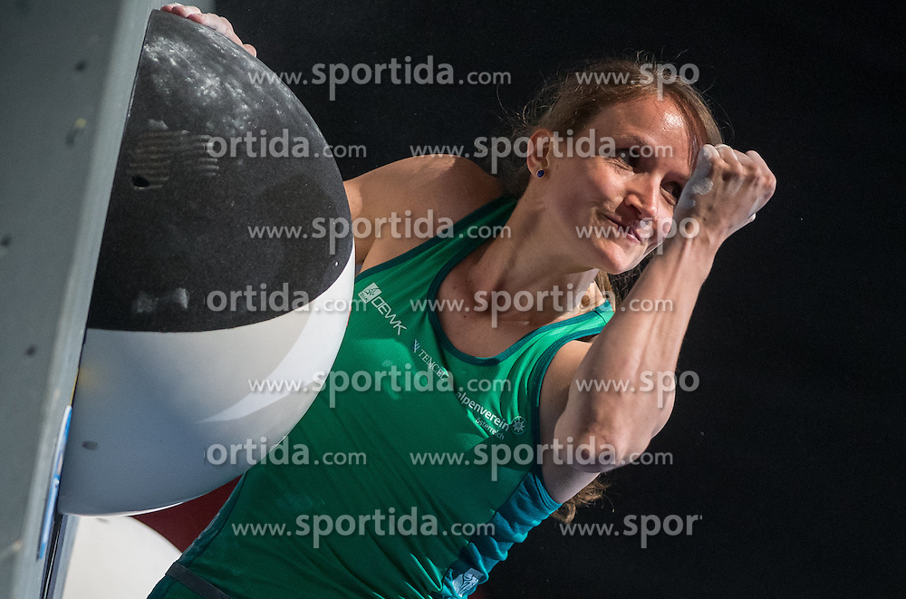 20.05.2016, Olympiaworld, Innsbruck, AUT, ISFC, Climbing World Cup, Finale, im Bild Anna Stöhr (AUT) // Anna Stöhr of Austria during final of the IISFC Climbing World Cup at the Olympiaworld in Innsbruck, Austria on 2016/05/20. EXPA Pictures © 2016, PhotoCredit: EXPA/ Jakob Gruber