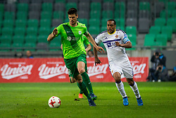 Nemanja Mitrovic of NK Olimpija Ljubljana and Marcos Morales Tavares during football match between NK Olimpija Ljubljana and NK Maribor in Semifinal of Slovenian Football Cup 2016/17, on April 5, 2017 in SRC Stozice, Ljubljana, Slovenia.  Photo by Ziga Zupan / Sportida