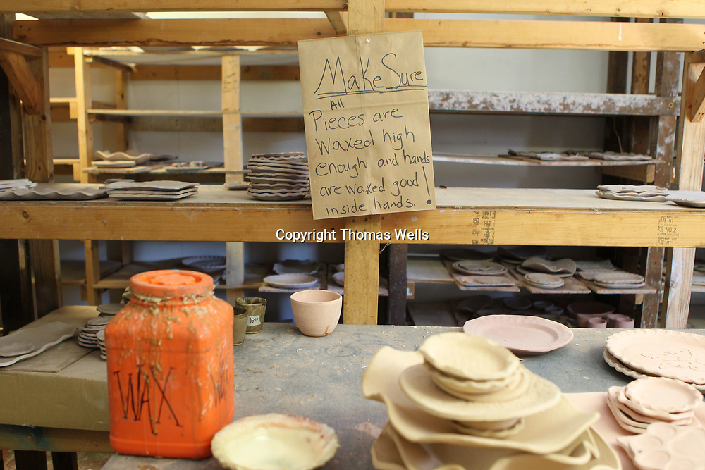 The pottery making process is solength and detailed, signs are put throughout the building to remind employees of some of the steps just to be safe.