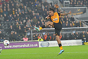 Hull City striker Abel Hernandez shoots at goal during the Capital One Cup Fourth Round match between Hull City and Leicester City at the KC Stadium, Kingston upon Hull, England on 27 October 2015. Photo by Ian Lyall.