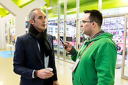 16.01.2018, Zatika Sport Centre, Porec, CRO, EHF EM, Herren, Interview mit Francois-Xavier Houlet, Gruppe B, im Bild Francois-Xavier Houlet mit Daniel Genings // during an interview with Francois-Xavier Houlet during the EHF men's Handball European Championship at the Zatika Sport Centre in Porec, Croatia on 2018/01/16. EXPA Pictures © 2018, PhotoCredit: EXPA/ Sebastian Pucher
