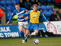 Photo: Steve Bond/Sportsbeat Images.<br />Macclesfield Town v Hereford United. Coca Cola League 2. 26/12/2007. Trent McClenahan (R) has his ankle clipped by Kevin Mcintyre (L)