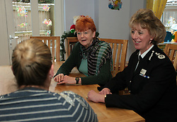 "Licensed to London News Pictures. 05/12/2012.Wearside, UK, In her first publicised engagement since being elected, former Solicitor General and MP for Redcar, Northumbria Police & Crime Commissioner Vera Baird and Northumbria Police Chief Constable Sue Sim launch a new campaign entitled ""Are you walking on eggshells"" to raise awareness of domestic violence in the Northumbria Police force area.  This Pic - Vera Baird and Sue Sim speak to a victim of domestic violence who has been helped by the charity that runs the refuge. The launch took place at a women's refuge on Wearside. *** Please note: the exact location of the refuge is being kept confidential *** Photo credit: Adrian Don/LNP"