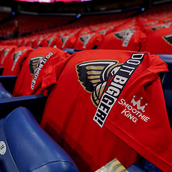 Apr 21, 2018; New Orleans, LA, USA; Red New Orleans Pelicans t-shirts a giveaway to all fans attending are placed on seats throughout the arena before game four of the first round of the 2018 NBA Playoffs against the Portland Trail Blazers at the Smoothie King Center. Mandatory Credit: Derick E. Hingle-USA TODAY Sports