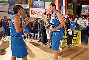 DESCRIZIONE : Bormio Torneo Internazionale Gianatti Finale Italia Croazia <br /> GIOCATORE : Giacomo Galanda Gianluca Basile<br /> SQUADRA : Nazionale Italia Uomini <br /> EVENTO : Bormio Torneo Internazionale Gianatti <br /> GARA : Italia Croazia<br /> DATA : 04/08/2007<br /> CATEGORIA : Premiazione<br /> SPORT : Pallacanestro<br /> AUTORE : Agenzia Ciamillo-Castoria/G.Cottini<br /> Galleria : Fip Nazionali 2007 <br /> Fotonotizia : Bormio Torneo Internazionale Gianatti Finale Italia Croazia<br /> Predefinita :