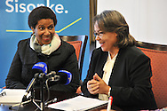 CAPE TOWN, SOUTH AFRICA - Friday 22 August 2014, Dr Phumzile Mlambo-Ngcuka, Under-Secretary-General and Executive Director of UN (United Nations) Women from New York and former South African Deputy President, smiles at Patricia De Lille, Executive Mayor of Cape Town, during the announcement that the City of Cape Town will join the United Nations Women Safe Cities Global Initiative designed to assist local authorities in making cities safer for women and girls. Cape Town is the first city in southern Africa to join the UN Women Safe Cities Global Initiative, and looks forward to learning from and sharing its experiences with other international cities and African counterparts in Kigali and Nairobi.<br /> Photo by Roger Sedres/ImageSA