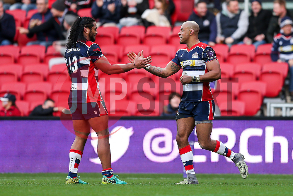 Tom Varndell of Bristol Rugby celebrates with Thretton Palamo after scoring a try - Rogan Thomson/JMP - 11/12/2016 - RUGBY UNION - Ashton Gate Stadium - Bristol, England - Bristol Rugby v Pau - European Rugby Challenge Cup.