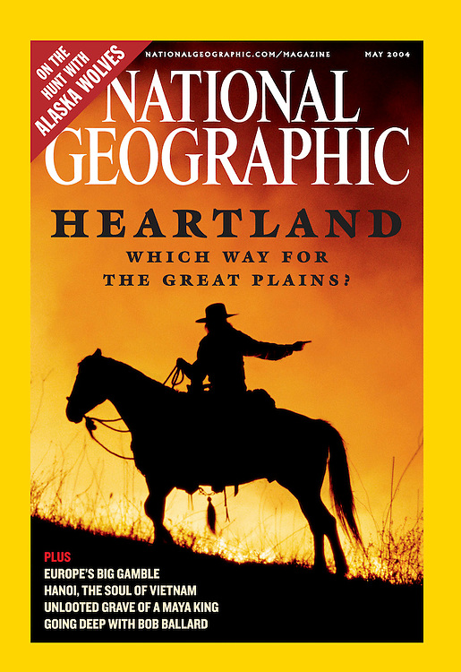 Cover of National Geographic Magazine 2004<br /> <br /> Shows night burning on a Kansas Flint Hills ranch.