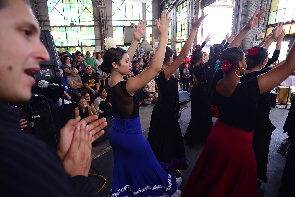 apl050717d/ASECTION/pierre-louis/JOURNAL 050717<br /> Ricardo Angled,, left provides the vocals and beat while flamenco dancers from Tierra Adentro of New Mexico perform at the Railyards Market . The popular event runs through the last Sunday of October .Photographed on Sunday May 7 2017. .Adolphe Pierre-Louis/JOURNAL