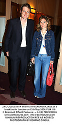 ZAC GOLDSMITH and his wife SHEHERAZADE at a breakfast in London on 12th May 2004.PUA 116