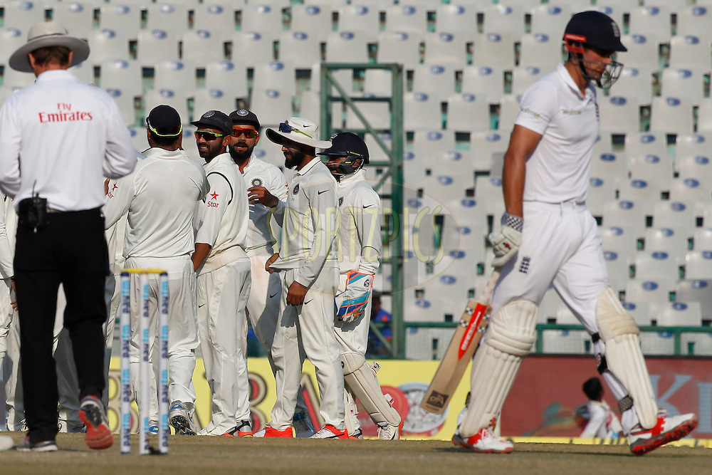 Virat Kohli Captain of India celebrates the wicket of Alastair Cook Captain of England during day 3 of the third test match between India and England held at the Punjab Cricket Association IS Bindra Stadium, Mohali on the 28th November 2016.<br /> <br /> Photo by: Deepak Malik/ BCCI/ SPORTZPICS
