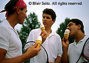 Outdoor recreation, tennis, Tennis, Friendly Competition, Young Adult Men Companionship at Tennis, Enjoy Ice Cream