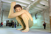 """VENICE, ITALY..49th Biennale of Venice.Arsenale..""""Untitled (Boy)"""", 1999 by Ron Mueck..(Photo by Heimo Aga)"""
