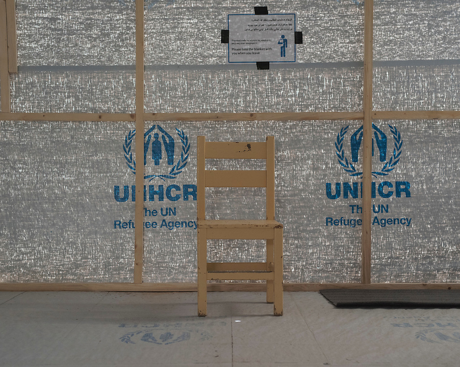 A UNHCR shelter in the closed down refugee camp at the Port of Lakki. 
