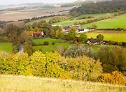 Autumnal landscape of River Kennet valley, Stitchcombe, near Marlborough, Wiltshire, England, UK