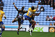 Bath wing Semasa Rokoduguni (14) catches the ball during the Gallagher Premiership Rugby match between Wasps and Bath Rugby at the Ricoh Arena, Coventry, England on 2 November 2019.