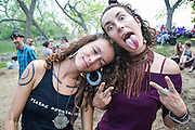 Leah and Chloe Smith of Rising Appalachia at the Old Settler's Music Festival, Austin, Texas, April 18, 2015.