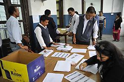 April 3, 2017 - Kathmandu, NP, Nepal - Staffs of Election Commission arranging photo copies of voters' identity cards at Election Commission Building, Kathmandu, Nepal on Monday, April 03, 2017. Chief Election Commissioner Dr. Ayodhi Prasad Yadav inaugurated the voters' identity cards printing task at Election Commission premises. The Election Commission has started printing voters' identity cards for upcoming local level election scheduled on May 14, 2017. The Election Commission approved the name of 14.54 million voters for the local level election on Sunday, April 02, 2017. (Credit Image: © Narayan Maharjan/NurPhoto via ZUMA Press)
