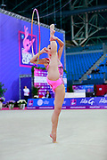 Feeley Camilla during Qualification of hoop at World Cup Pesaro 2018. Feeley is gymnast from U.S.A.
