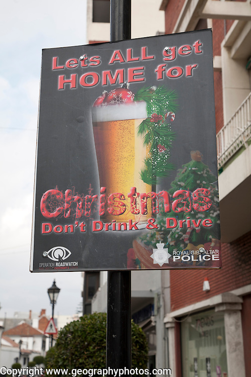 Anti drink drive Christmas poster, Gibraltar, British terroritory in southern Europe