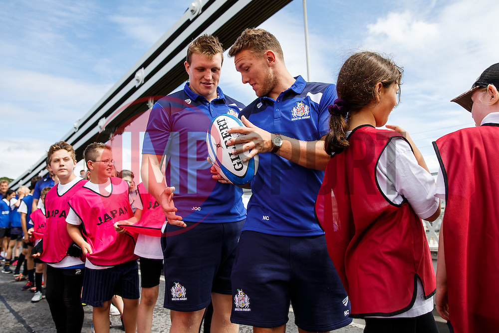 Nick Carpenter gets involved as Local Junior Schools take part in activities on the iconic Clifton Suspension Bridge with Bristol Rugby Players - Mandatory byline: Rogan Thomson/JMP - 07966 386802 - 14/07/2015 - SPORT - RUGBY UNION - Bristol, England - Clifton Suspension Bridge - Webb Ellis Cup visits Bristol as part of the 2015 Rugby World Cup Trophy Tour