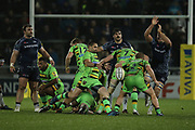 Cobus Reinach kicks during the Aviva Premiership match between Sale Sharks and Northampton Saints at the AJ Bell Stadium, Eccles, United Kingdom on 25 November 2017. Photo by George Franks.