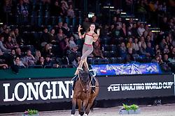 ROSS Alina (GER), San Zero<br /> Leipzig - Partner Pferd 2019<br /> FEI Vaulting World Cup<br /> 2. Umlauf<br /> Damen / Female<br /> 19. Januar 2019<br /> © www.sportfotos-lafrentz.de/Stefan Lafrentz