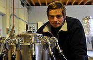10/01/12 - BLESLE - HAUTE LOIRE - FRANCE - Charlie LEROUX directeur de la Brasserie de l Alagnon - Photo Jerome CHABANNE