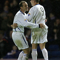 Rangers v St Johnstone....08.11.06   CIS Cup Quarter Final<br />Steven Milne celebrates his second goal with Paul Sheerin<br /><br />Picture by Graeme Hart.<br />Copyright Perthshire Picture Agency<br />Tel: 01738 623350  Mobile: 07990 594431
