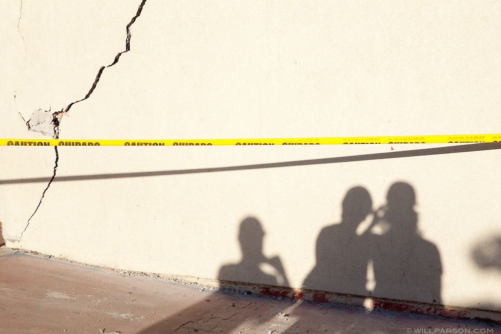 Researchers cast a shadow on the campus of the Universidad Autónoma de Baja California. A group of researchers led by Dr. Shing, Vice Chair of the Department of Structural Engineering at the University of California, San Diego, inspected the earthquake damage in Mexicali, Mexico, April 7, 2010. A 7.2 magnitude earthquake in Baja California on Easter Sunday was felt as far away as Los Angeles.