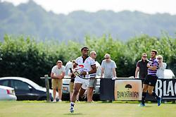 Bristol Winger (#14) Sammy Speight scores a try - Photo mandatory by-line: Rogan Thomson/JMP - Tel: Mobile: 07966 386802 01/09/2013 - SPORT - RUGBY UNION - Station Road, Cribbs Causeway, Bristol - Clifton RFC v Bristol Rugby - Pre Season Friendly.