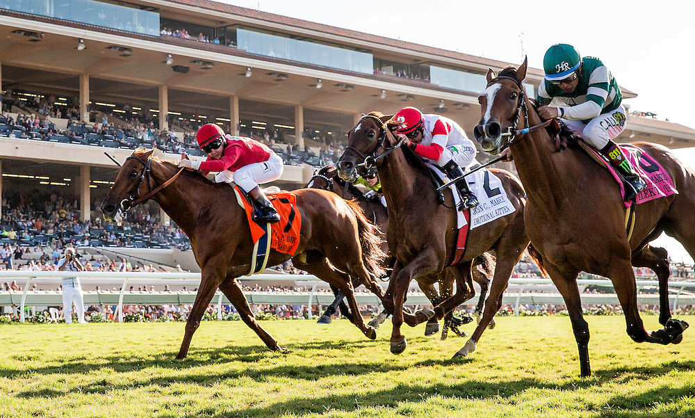 August 8 2015: Elektrum with Victor Espinoza defeats Queen of the Sand and Drayden Van Dyke (7) and Emotional Kitten (center) to take the John C. Mabee Stakes at  Del Mar Race Course in Del Mar CA. Alex Evers/ESW/CSM