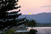 Full Moon, Kaneohe Bay, Oahu, Hawaii