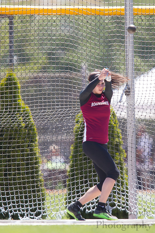 Ramapo College's Alexis Appezzato competes in the women's hammer throw at the NJAC Track and Field Championships at Richard Wacker Stadium on the campus of  Rowan University  in Glassboro, NJ on Saturday May 4, 2013. (photo / Mat Boyle)