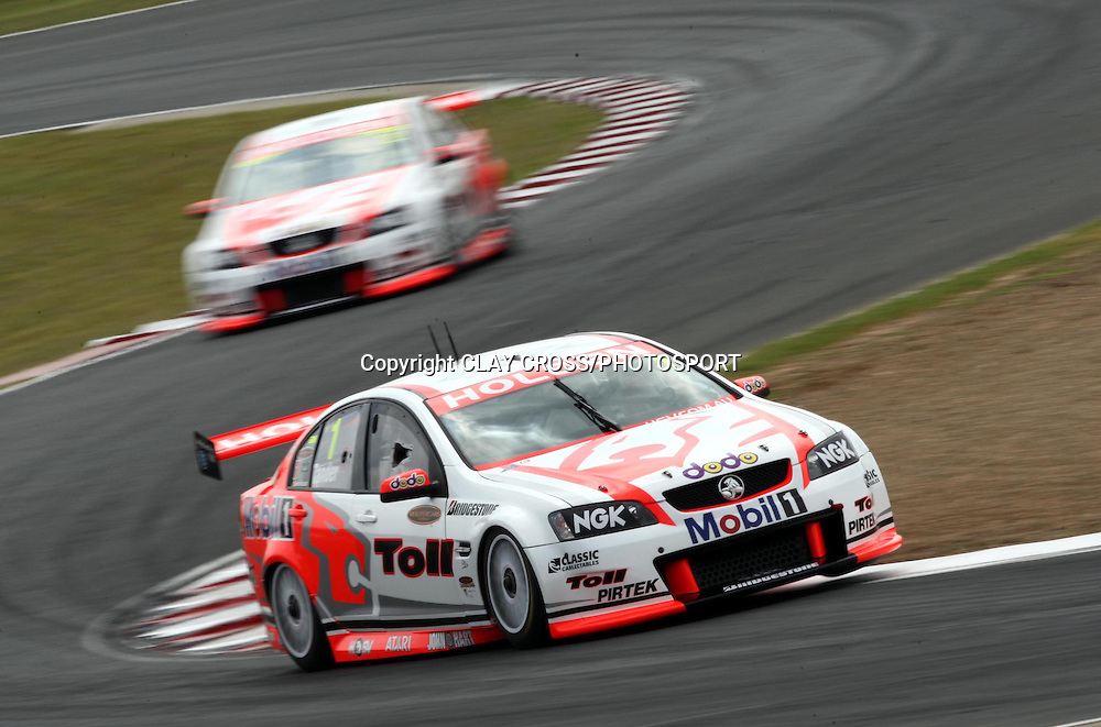 Garth Tander driving the Holden Racing Team Holden leads team mate Mark Skaife during the V8 Supercar race at Eastern Creek Raceway, Western Sydney on Saturday 8th March 2008. Photo: Clay Cross/PHOTOSPORT